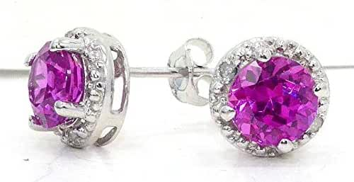 2 Ct Created Pink Sapphire & Diamond Round Stud Earrings .925 Sterling Silver Rhodium Finish
