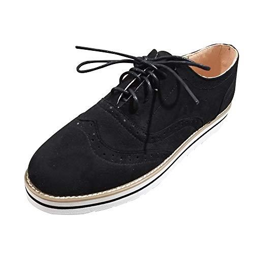 Cordones Deportes para Alpargatas de Primavera Respirable otoño QinMM Mujer Negro Zapatillas Zapatos Plano Gym q5Tqd