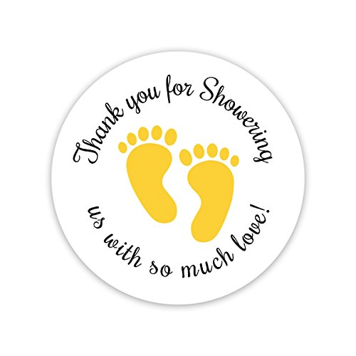 60 Baby Shower Stickers, Thanks for Showering us, Gender Neutral Shower Stickers (#371-Yellow)