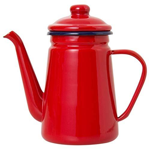 Tiamu Cafetera de Esmalte de Alto Grado de 1 1L Verter sobre Leche Jarra de Agua Jarra Tetera Barista Hervidor para Estufa de Gas y Cocina de InduccioN Rojo