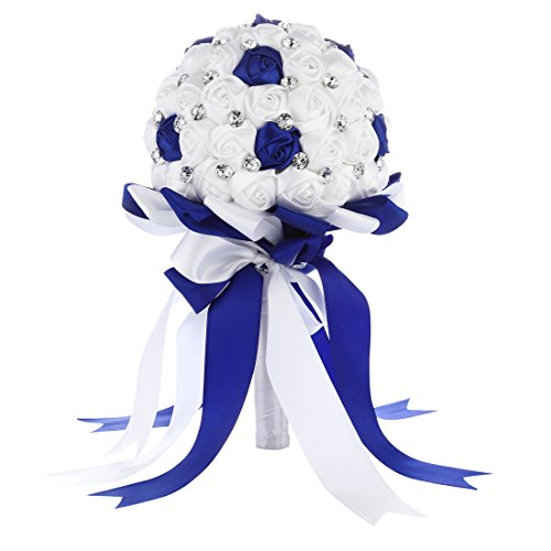 FAYBOX Crystal Satin Rose Bridal Bridesmaid Bouquets Wedding Flower Decor Royal Blue 2 -