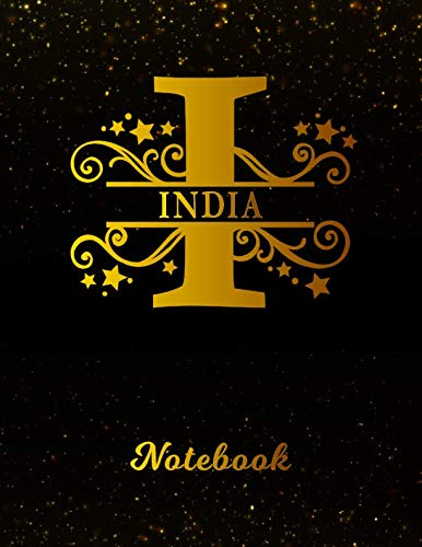 India Notebook: Letter I Personalized First Name Personal Writing Notepad Journal | Black Gold Glittery Pattern Effect Cover | College Ruled Lined ... Taking | Write about your Life & Interests (Best Gift For Mother In Law India)