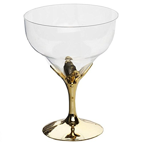 BalsaCircle 24 pcs Clear and Gold Plastic Wine Goblets - Disposable Wedding Party Catering Tableware