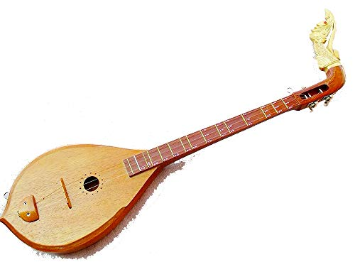 Isarn Acoustic Phin 3 Strings, Thai Lao Guitar Musical Instrument, Jackfruit Wood Traditional Thai Musical Pin 02 ()