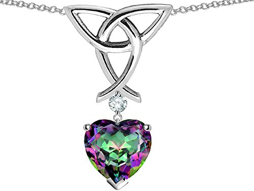 (Star K Love Knot Pendant Necklace with 8mm Heart Shape Rainbow Mystic Quartz Sterling)