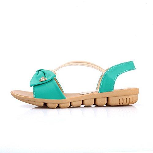 Amoonyfashion Kvinna Låga Klackar Mjukt Material Diverse Färgpådrags Öppen Tå Sandaler Blå