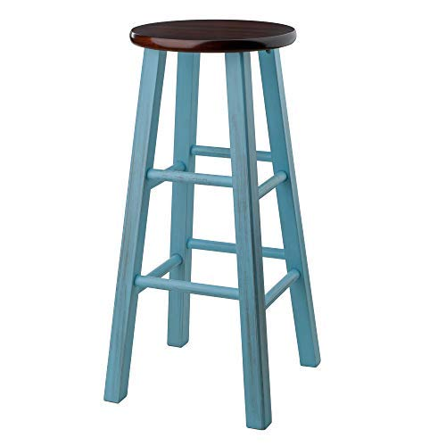 Winsome Wood 65230-WW Ivy Model Name Stool Rustic Light Blue/Walnut