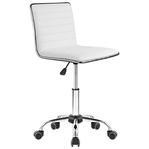 Homall Office Chair Ribbed Computer Chair Armless Leather Desk Chair Mid Back Managerial Executive Chair Upholstery Task Chair Secretarial Chair (White) by Homall