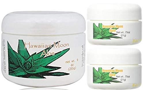 Hawaiian Moon Aloe Cream 9 Ounce Jar and Two Travel Size 3/4 Ounce Jars