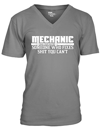 Mechanic Someone Who Fixes Shit You Can't Men's V-neck T-Shirt Tee (Large, CHARCOAL)