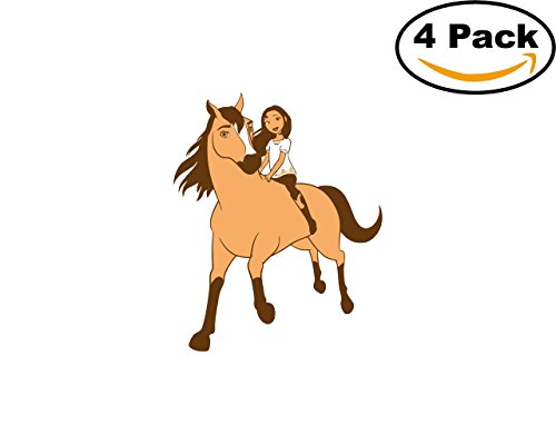 Spirit Riding Free 4 Stickers 4x4 Inches Cartoon Car Bumper Window Sticker Decal