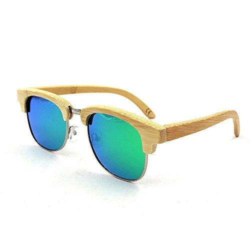 adulte Rimless Vert Vert couleur de en Semi bambou Couleur protection à pour main soleil lunettes lentille la Simple UV400 KOMEISHO unisexe TRqvHH