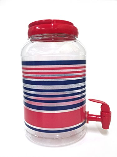 Classic American Sun Tea Jar & 4 Tumblers, Red, Stripes