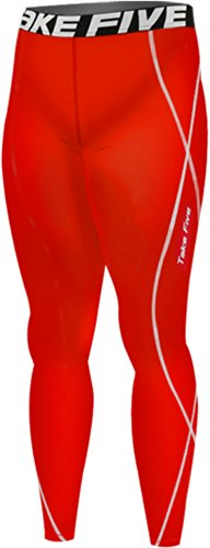 New 167 Red Skin Tights Leggings Sports Compression Base Layer Running Pants Mens (M)