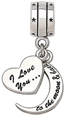 """I Love You To The Moon and Back"" Two Piece-Pendant Bead Charm ALOV Sterling Silver"