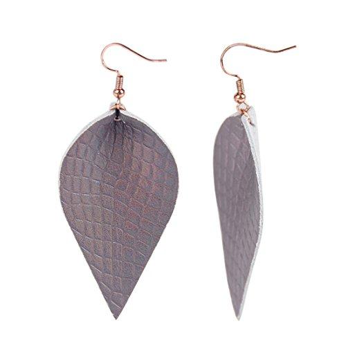 YOUTH UNION Genuine Leather Teardrop Earrings Boho Shard Lattice Leaf Dangle Pierced Earrings (Brown)