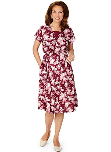 Carol Wright Gifts Crossover Printed Dress, Wine, Size Extra Large - Printed Crossover