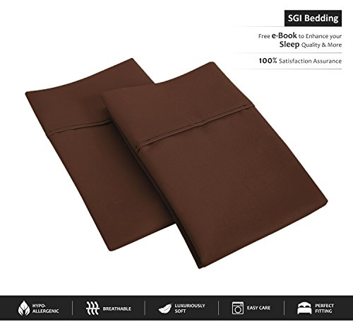 600 Thread Count 100% Egyptian Cotton Pillow Shams Standard Size 20X26 Chocolate Solid (Pack of - Chocolate Standard Sham