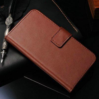 Caja de la carpeta para Samsung Galaxy S5 Coque cuero genuino con el titular de la tarjeta de teléfono cubierta de la bolsa marrón