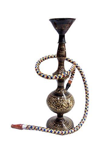 - Vintage hookah Brass Silver Plated Handmade Indian Royal Hookah for Showpiece & Use -Single Hose Hookah (24 Inch)