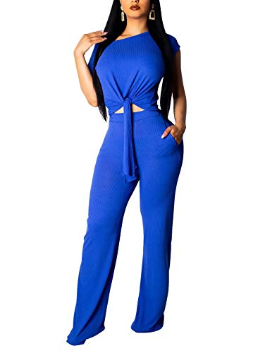 Womens Sexy Two Piece Outfits Short Sleeve Rib Belted Crop Top Wide Leg Pants Set Summer Jumpsuits Royal Blue#1 -