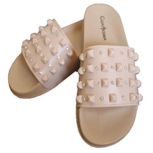 Femmes Plat FERETI Pantoufles Pointure Beige Mules Sandales Cloutées Chaussons Claquettes RwqH5qd