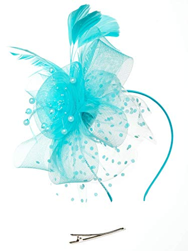 Fascinators Hat for Women Tea Party Headband Kentucky Derby Wedding Cocktail Flower Mesh Feathers Hair Clip (1-Sky Blue)