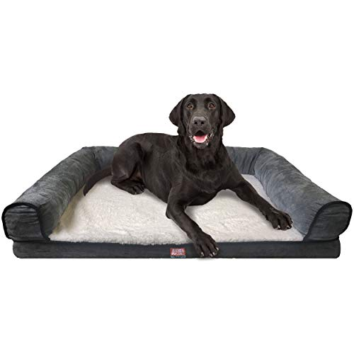 (Animal Planet Orthopedic Luxury Dog Bed - Premium Memory Foam Pet Dog Sofa Bed Lounger with Washable Cover - for Dogs & Cats, Jumbo, Grey)