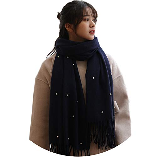 2018 Newest Hot Sale Ladies Color Scarf Pearl Knit Tassel Long Autumn Winter Scarf Warm,Cyan,One Size]()