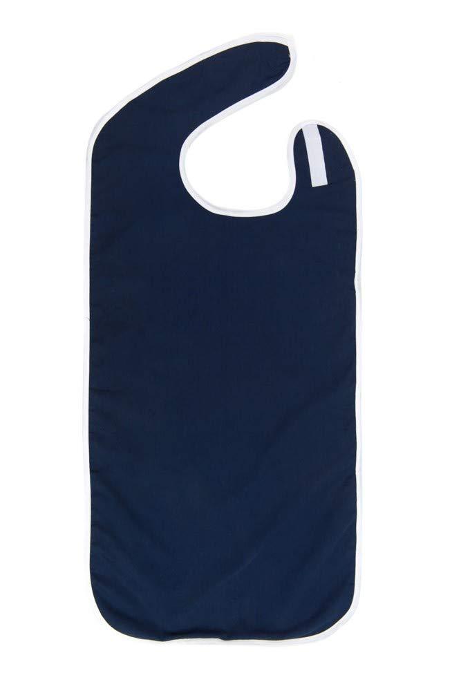 Adult Bibs - Shirt Saver - Lightweight Waterproof - Full Coverage - Easy Hook & Loop Closure - Machine Washable (Navy, 3 Pack Large 27'' x 23'')