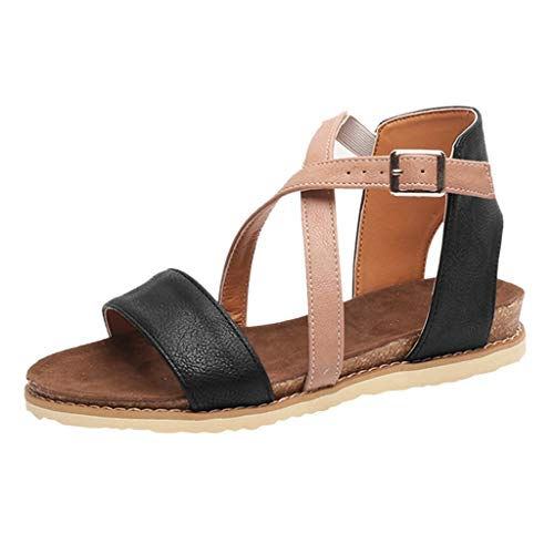 1cf36f9674a Photno Women s Criss Cross Flats Sandals Strap Back Zipper Gladiator Open  Toe Sandals Black
