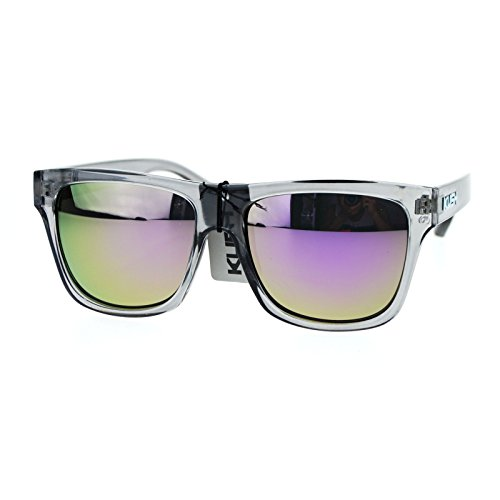 Kush Translucent Slate Gray Frame Purple mirrored Lens Hipster horned - Sunglasses Kush