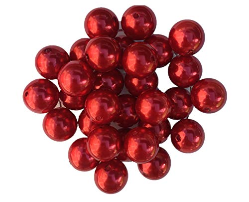 20mm Pearls 30 Count Faux Pearls Chunky Bubble Gum Acrylic Beads Bulk Wholesale Pack Necklace Kit (Red) (20mm Pearl Beads Bulk)