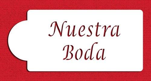 Beige//semi-transparent Designer Stencils C080 Nuestra Boda Cake Stencil