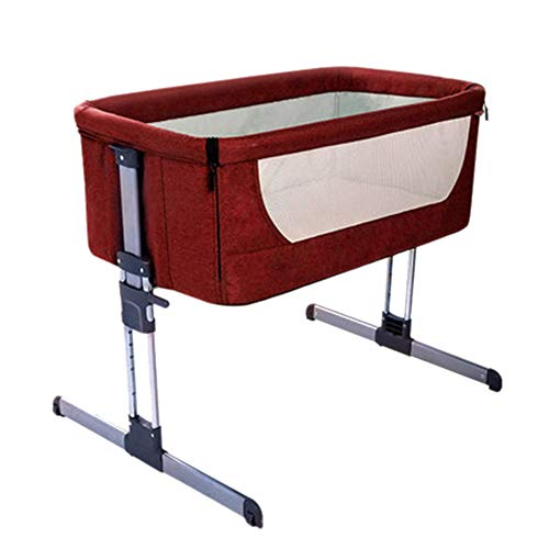 QETU Bassinet and Bedside Sleeper, Breathable Travel Cradle Newborn Bed, Six-Files Height Adjustable for 0-9 Months Baby,Red
