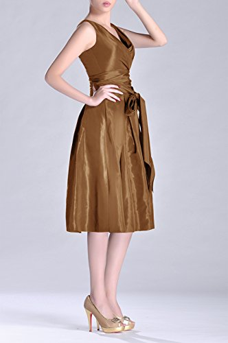 Length line Dress Tea Cocoa neck Pleated bridesmaids V A Formal Modest Bridesmaid Taffeta SpnRtz