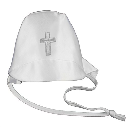 Baby Boys Christening Baptism White Hat Gold Silver Embroidered Cross (S-XL:(0-24 months), Silver) -