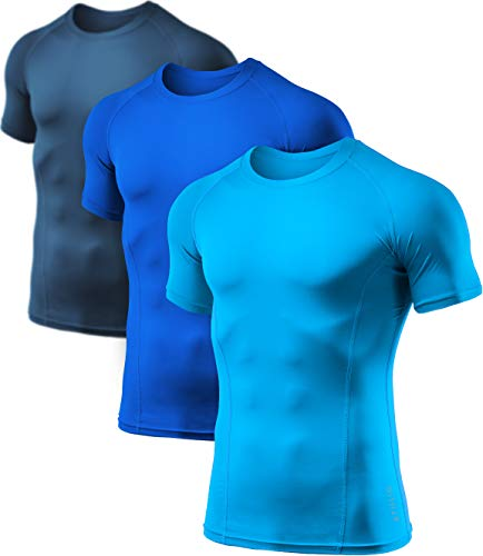 ATHLIO Men's (Pack of 3) Cool Dry Compression Short Sleeve Sports Baselayer T-Shirts Tops, 3pack(bts02) - Navy/Blue/Sky, Large