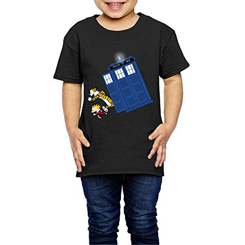 LFISH3 Calvin And Hobbes Doctor With Who Long Children Organic Short Sleeve Tee Black 5-6 Toddler