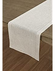 Solino Home 100% Pure Linen Hemstitch Table Runner - 14 x 36 Inch, Handcrafted from European Flax, Machine Washable Classic Hemstitch - Light Natural