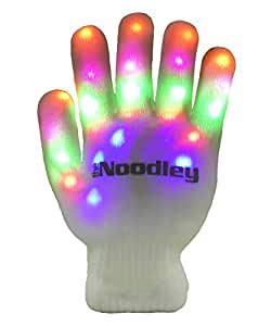 The Noodley's Flashing LED Light Gloves - Kids Size and Adult Size - Extra Batteries (Small, White)
