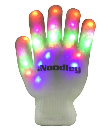The Noodley's Flashing LED Light Gloves - Kids Size and Adult Size - Extra Batteries (Child, White/White)