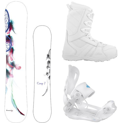 Camp Seven Dreamcatcher 2021 with Lux Rear Entry Step in Style Bindings Women's Complete Snowboard Package