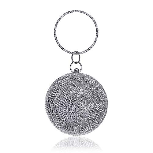 sac de Fashion sac main soirée Ms Clutch Silver à A main Spherical sac à diamant FWYfPUPT