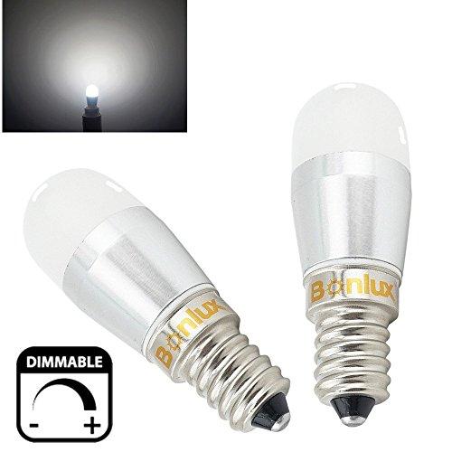 Bonlux 2-pack 3W Dimmable Fridge LED Light Bulb European Base E14 Daylight (European Light Bulb)
