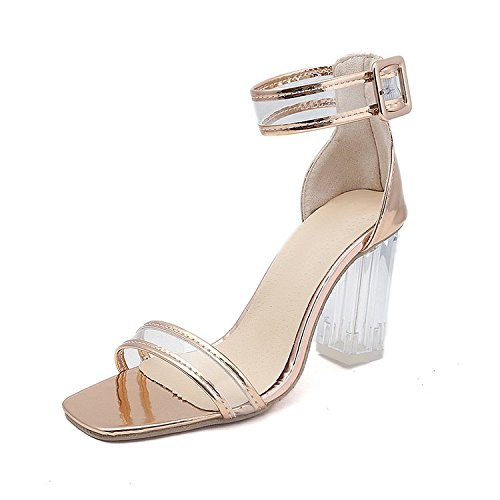 Nightclubs Shoes High GTVERNH Sandals 8Cm Exposed Heeled Shoes Gold Belts 35 Crystal Classic gxxAq8B