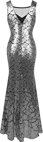 Dress Anne Party fashions Women's Sequins Silver Mermaid Neckline Angel Queen Long xwzq4nO