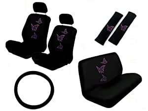 11 piece auto interior gift set multiple purple butterflies a set of 2 seat. Black Bedroom Furniture Sets. Home Design Ideas