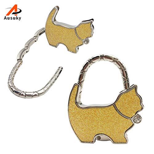 Blue Stones 1 Pc New Originality Lovely Color Revising Cat Design Handbag Folding Bag Purse Hook Hanger Holder for Gift Cat Lock Bling 30