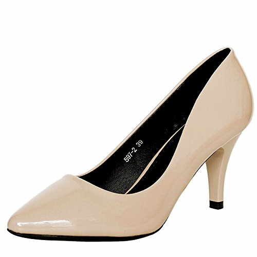 Rock on Styles Ladies Women Patent Low Mid Heel Evening Party office Casual Court Shoes Pumps Size-5972 Beige ejcS5gzuu6